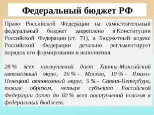 Федеральный бюджет РФ Право Российской Федерации на самостоятельный федеральн