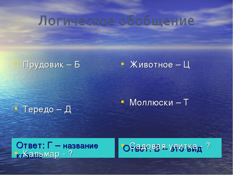 Ответ: Г – название класса Ответ: В – это вид Прудовик – Б Тередо – Д Кальмар...