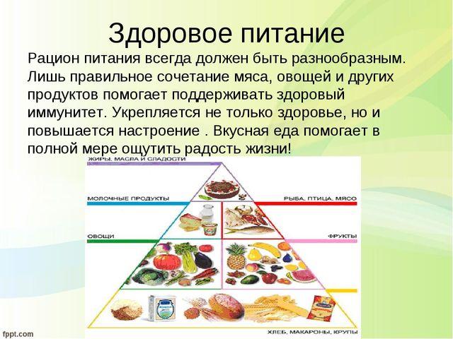 Здоровое питание Рацион питания всегда должен быть разнообразным. Лишь правил...
