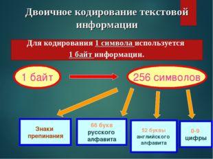 Двоичное кодирование текстовой информации 1 байт 256 символов 66 букв русског