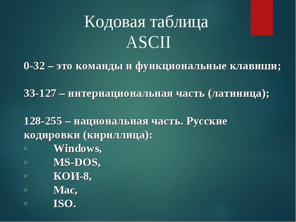 Кодовая таблица ASCII 0-32 – это команды и функциональные клавиши; 33-127 – и...