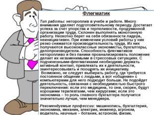 Флегматик Тип работы: нетороплив в учебе и работе. Много внимания уделяет по