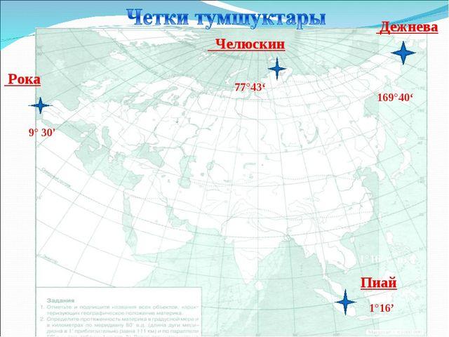Челюскин Дежнева Рока 77°43' 169°40' 1°16' с. ш. Пиай 9° 30' 1°16'