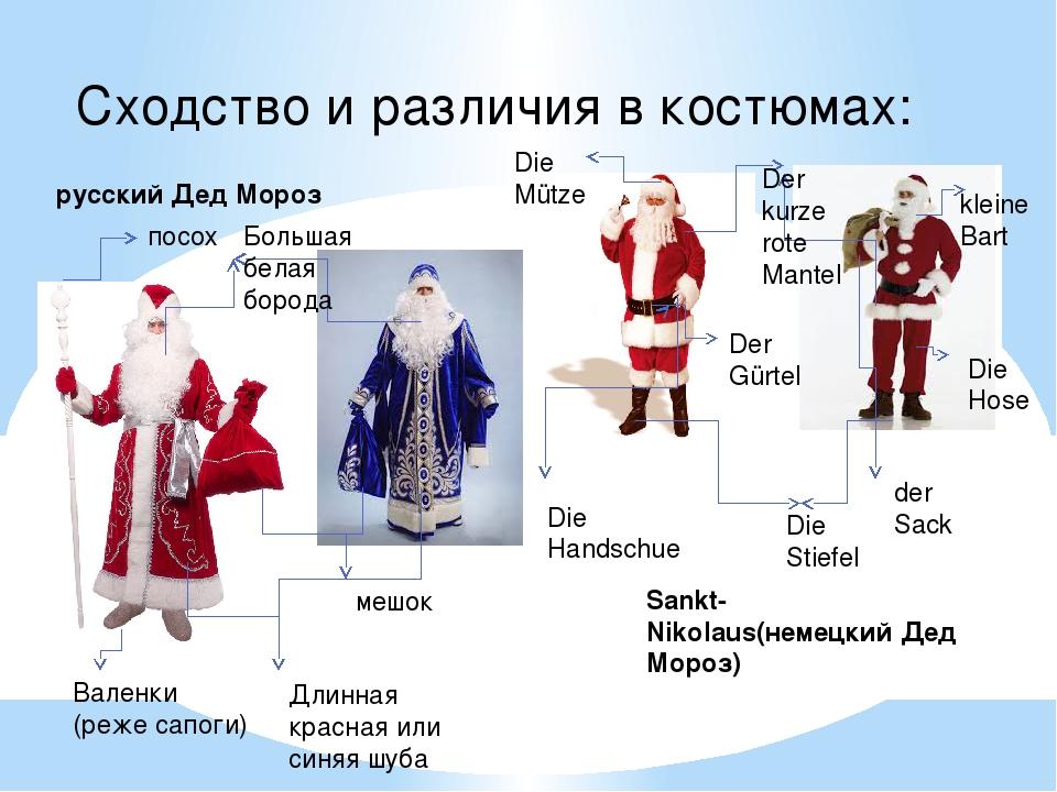 Сходство и различия в костюмах: русский Дед Мороз посох Большая белая борода...
