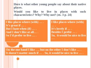 Here is what other young people say about their native places. Would you like