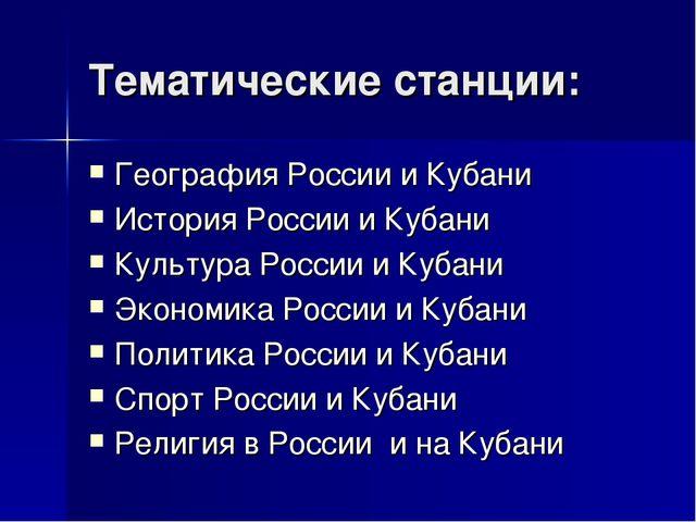 Тематические станции: География России и Кубани История России и Кубани Культ...