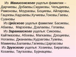Из Мамисонского ущелья фамилии – Дарчиевы, Добаевы,Сидаковы, Чельдиевы, Рамо