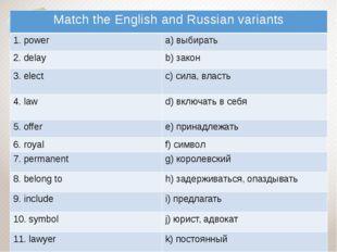 Match the English and Russian variants 1.power a)выбирать 2.delay b)закон 3.