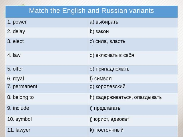 Match the English and Russian variants 1.power a)выбирать 2.delay b)закон 3....