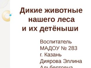 Дикие животные нашего леса и их детёныши Воспитатель МАДОУ № 283 г. Казань Д