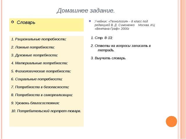 Домашнее задание. 1. Рациональные потребности; 2. Ложные потребности; 3. Духо...
