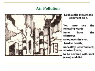 Air Pollution Look at the picture and comment on it. You may use the followin