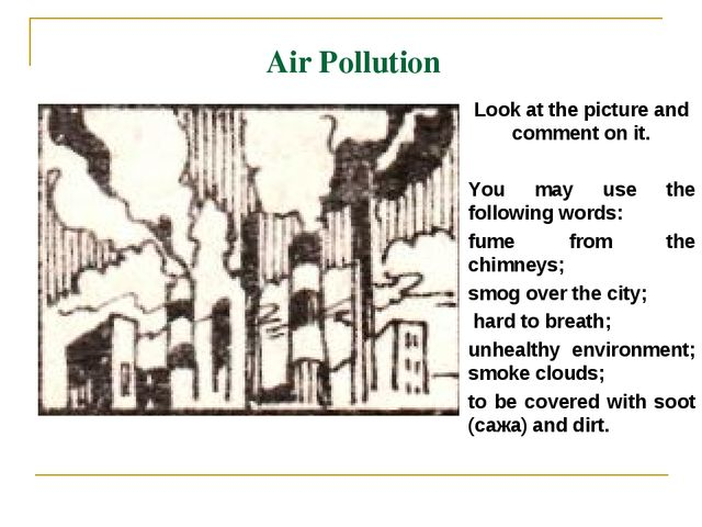 Air Pollution Look at the picture and comment on it. You may use the followin...