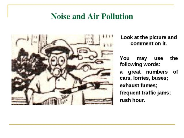 Noise and Air Pollution Look at the picture and comment on it. You may use th...