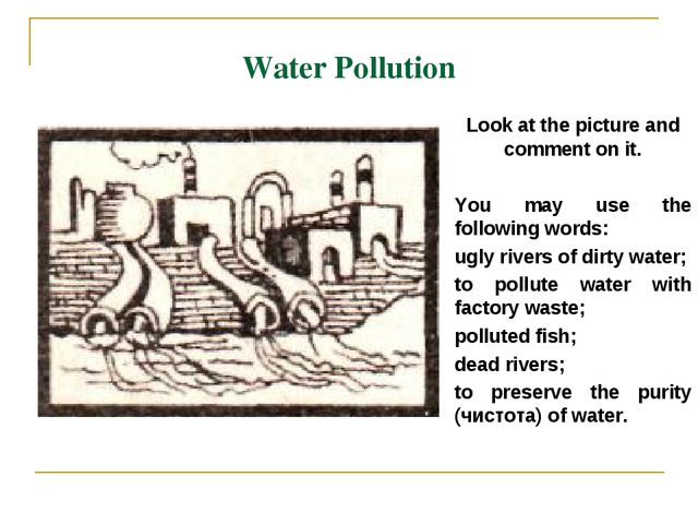 Water Pollution Look at the picture and comment on it. You may use the follow...
