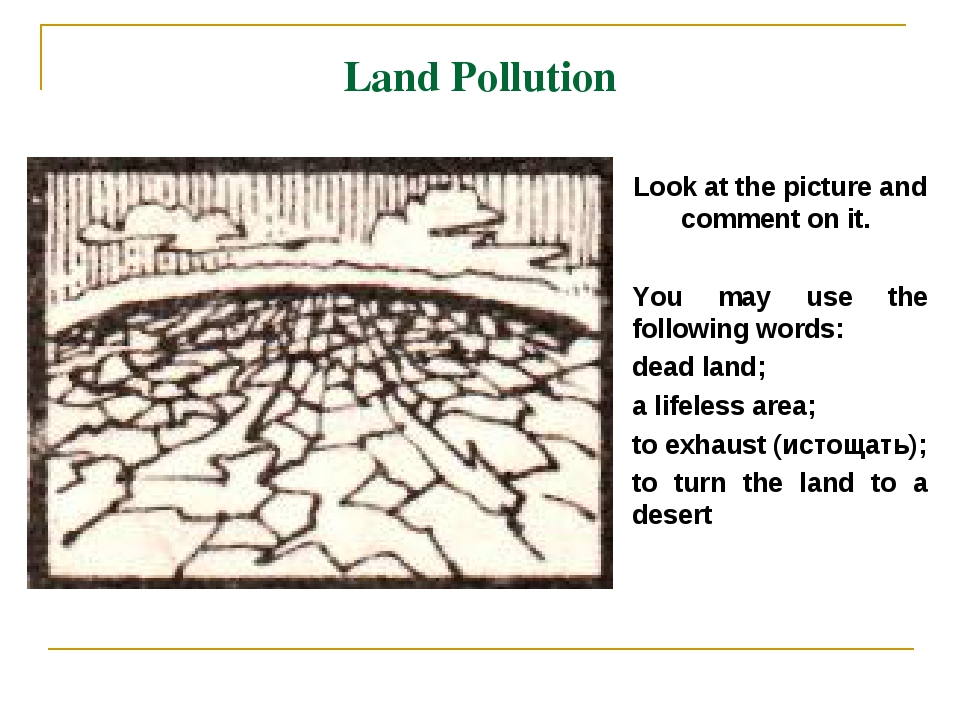 Land Pollution Look at the picture and comment on it. You may use the followi...