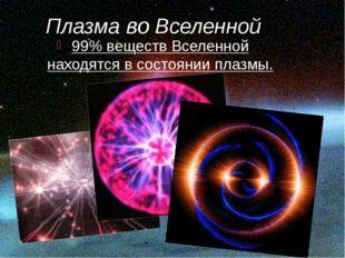 Плазма во Вселенной 99% веществ Вселенной находятся в состоянии плазмы.