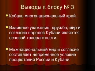 Выводы к блоку № 3 Кубань многонациональный край. Взаимное уважение, дружба,
