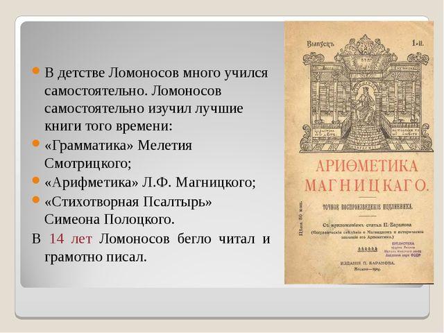 В детстве Ломоносов много учился самостоятельно. Ломоносов самостоятельно изу...