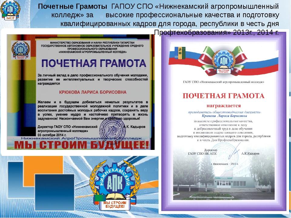 Почетные Грамоты ГАПОУ СПО «Нижнекамский агропромышленный колледж» за высоки...