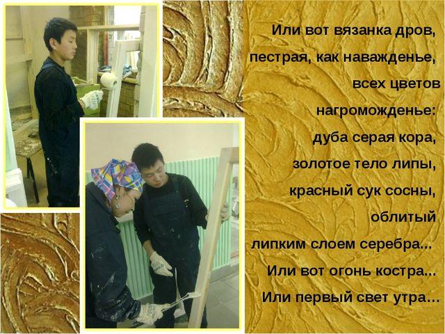 Или вот вязанка дров, пестрая, как наважденье, всех цветов нагроможденье: ду...