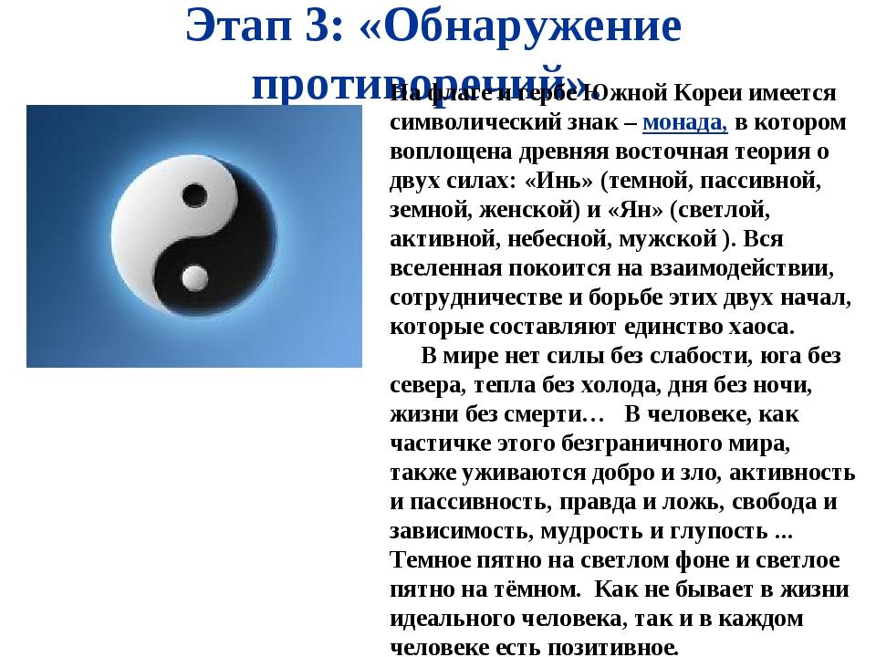 Этап 3: «Обнаружение противоречий». На флаге и гербе Южной Кореи имеется симв...