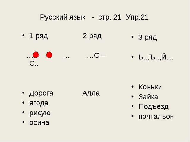 Русский язык - стр. 21 Упр.21 1 ряд 2 ряд … - … …С – С.. Дорога Алла ягода ри...