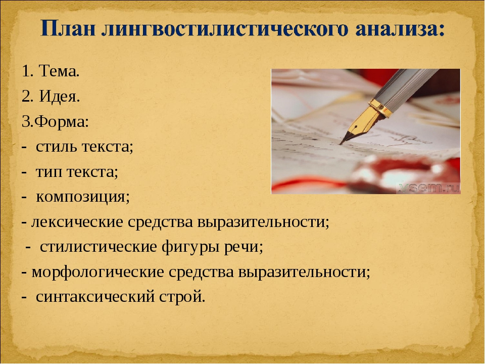1. Тема. 2. Идея. 3.Форма: - стиль текста; - тип текста; - композиция; - лекс...