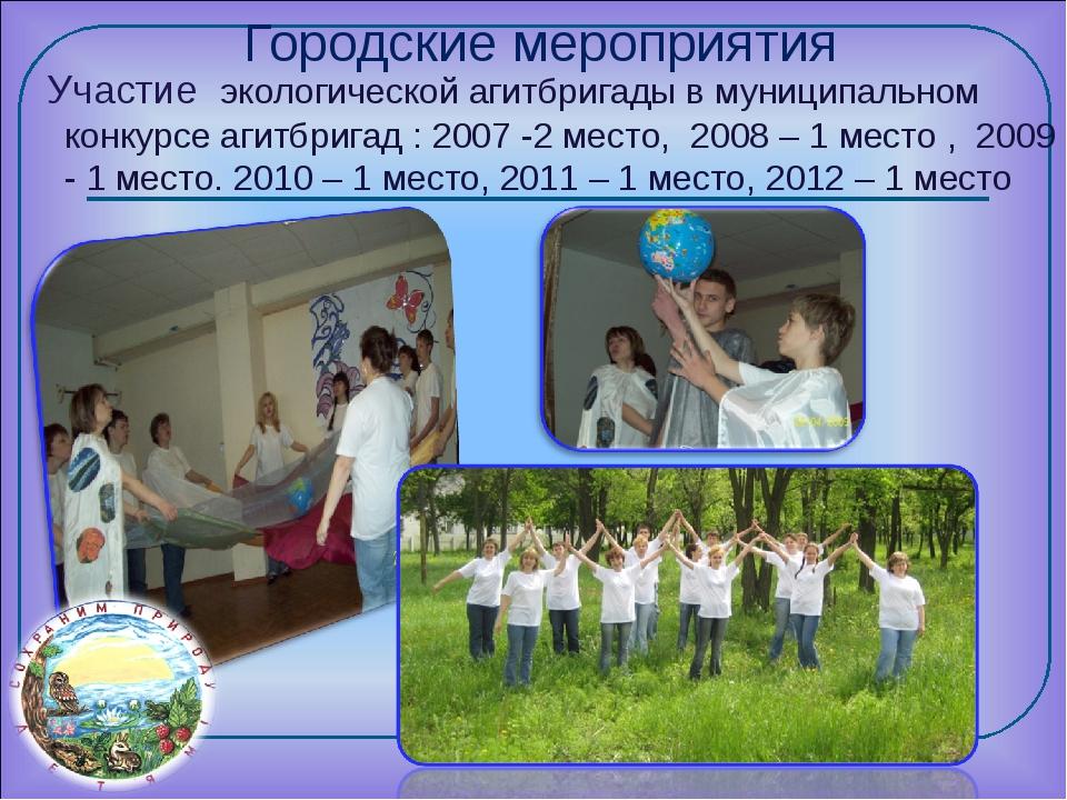 Городские мероприятия Участие экологической агитбригады в муниципальном конку...