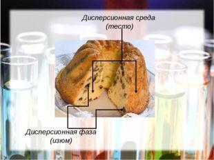 Дисперсионная среда (тесто) Дисперсионная фаза (изюм)