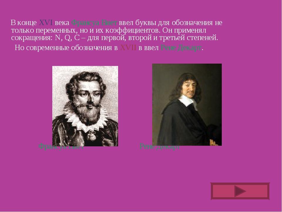 В конце ХVI века Франсуа Виет ввел буквы для обозначения не только переменны...