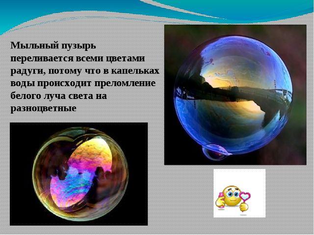 Мыльный пузырь переливается всеми цветами радуги, потому что в капельках воды...