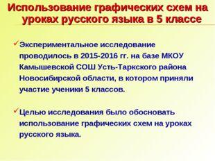 Использование графических схем на уроках русского языка в 5 классе Эксперимен