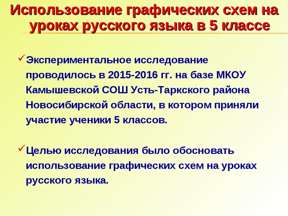 Использование графических схем на уроках русского языка в 5 классе Эксперимен...