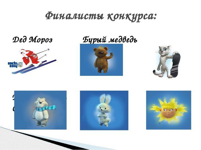 Дед Мороз Бурый медведь Леопард Белый медведь Зайка Солнышко Финалисты конкур...