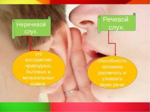 Неречевой слух. Речевой слух. это восприятие природных, бытовых и музыкальны