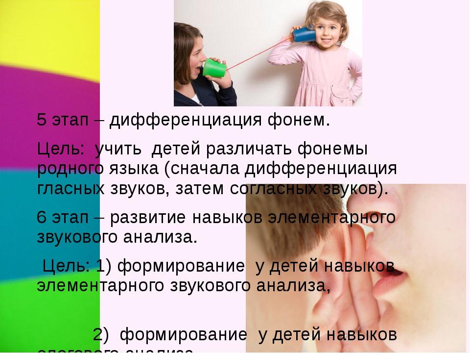 . 5 этап – дифференциация фонем. Цель: учить детей различать фонемы родного я...