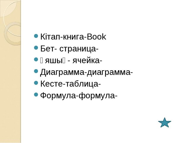 Кітап-книга-Book Бет- страница- Ұяшық- ячейка- Диаграмма-диаграмма- Кесте-таб...