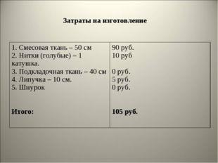 Затраты на изготовление 1. Смесовая ткань – 50 см 2. Нитки (голубые) – 1 кат