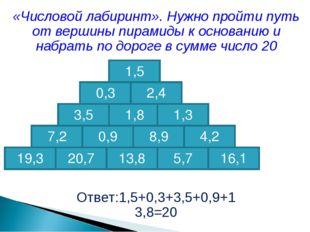 «Числовой лабиринт». Нужно пройти путь от вершины пирамиды к основанию и набр