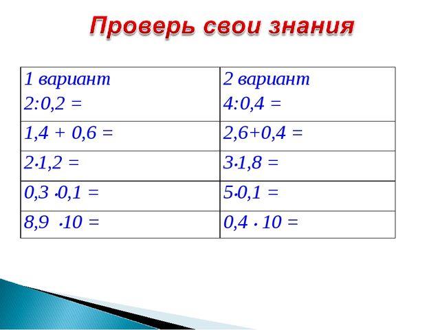 1 вариант 2:0,2 =2 вариант 4:0,4 = 1,4 + 0,6 =2,6+0,4 = 2•1,2 =3•1,8 = 0,3...