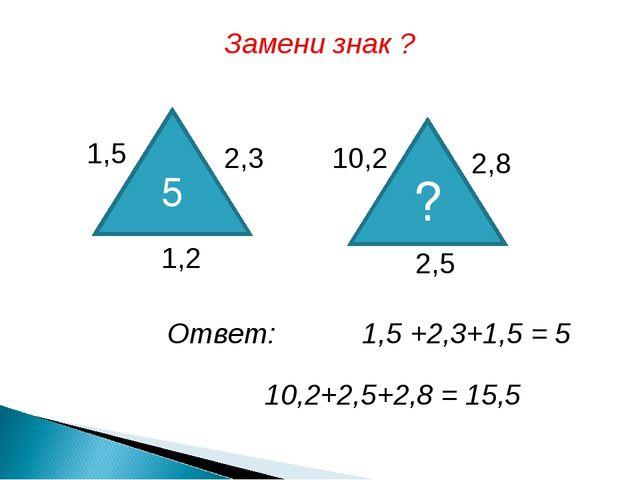 Ответ: 1,5 +2,3+1,5 = 5 10,2+2,5+2,8 = 15,5 Замени знак ? 5 ? 1,5 2,3 1,2 10,...
