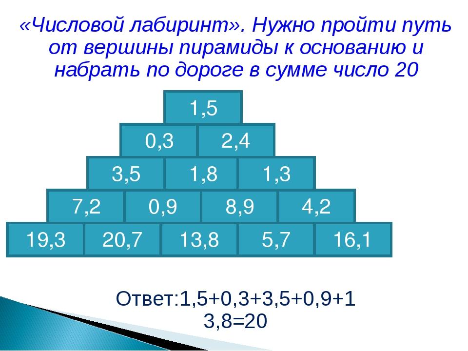 «Числовой лабиринт». Нужно пройти путь от вершины пирамиды к основанию и набр...