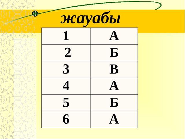 жауабы 1 А 2 Б 3 В 4 А 5 Б 6 А