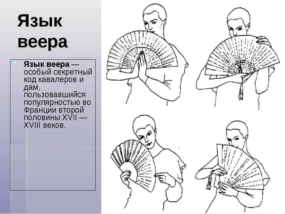 Язык веера Язык веера— особый секретный код кавалеров и дам, пользовавшийся...
