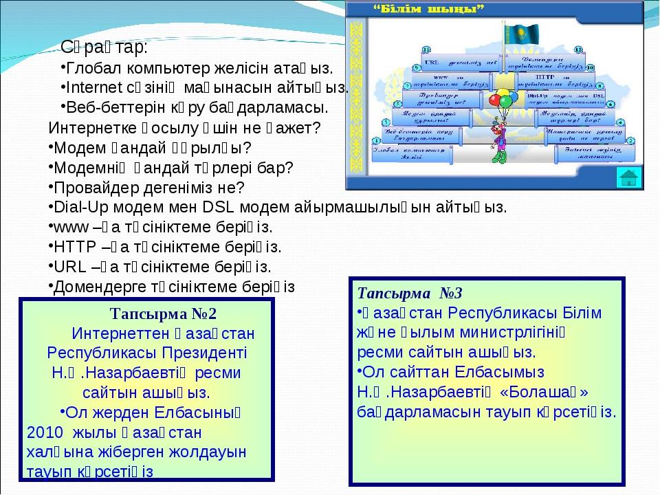 Тапсырма №2 Интернеттен Қазақстан Республикасы Президенті Н.Ә.Назарбаевтің ре...