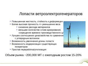 Лопасти ветроэлектрогенераторов Повышенная жесткость, стойкость к деформации