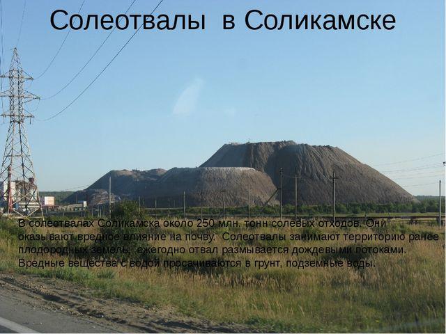 Солеотвалы в Соликамске В солеотвалах Соликамска около 250 млн. тонн солевых...