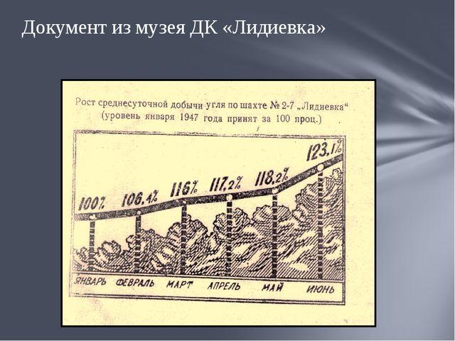 Документ из музея ДК «Лидиевка»