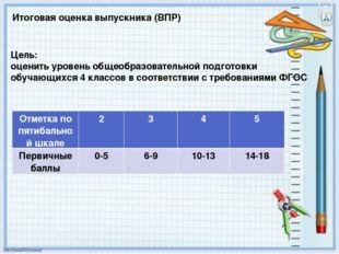 Итоговая оценка выпускника (ВПР) Цель: оценить уровень общеобразовательной по
